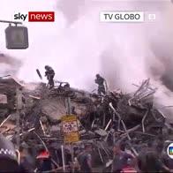Burning building collapses in Brazil