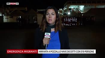 Migranti, a Pozzallo nave Diciotti con 519 persone