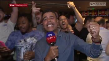 Kammy celebrates with England fans!