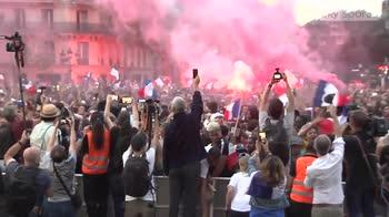 France fans celebrate in Paris