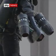 British 'Iron Man' jets through London