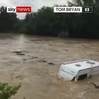 Caravan washed away in France floods