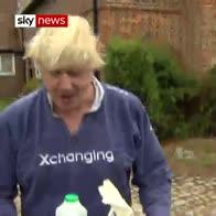 Boris gives reporters tea (but no answers)