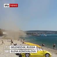 Dust devil tears along Black Sea beach
