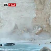 Dramatic cliff collapse on Greek beach