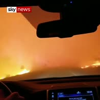 Family drive through raging wildfire