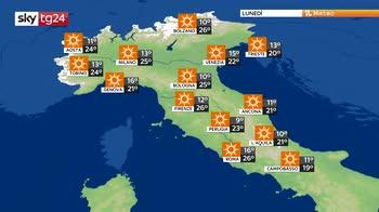 Temporali diurni sulle Alpi, soleggiato e caldo altrove