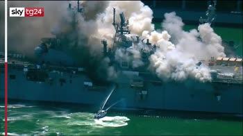 Usa, portaerei prende fuoco nel porto di San Diego