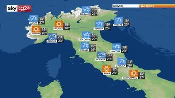 Temporali in Sicilia e sulle Alpi, fresco al nord