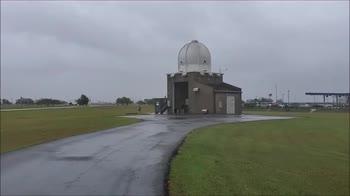 Pallone meteorologico rilasciato in mezzo all'uragano Hanna