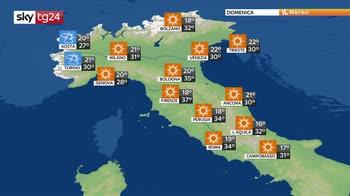 Caldo afoso sull'Italia, temporali a ridosso delle Alpi