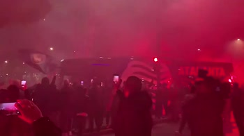 Atalanta-Real Madrid, l'arrivo delle squadre allo stadio