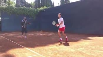 djokovic fiorello allenamento internazionali tennis roma