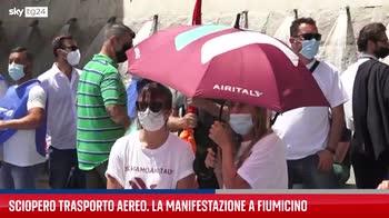 Fiumicino, manifestazione lavoratori settore aereo