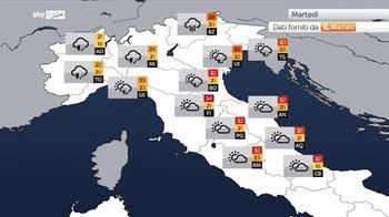 Meteo: temporali violenti in arrivo al nord, caldo al sud