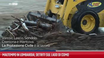 Maltempo in Lombardia, detriti sul lago di Como