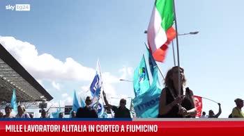 Alitalia, a Fiumicino corteo di protesta dei lavoratori