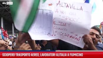 Sciopero trasporto aereo, lavoratori Alitalia a Fiumicino