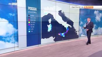 Meteo: precipitazioni alluvionali tra Sicilia e Calabria